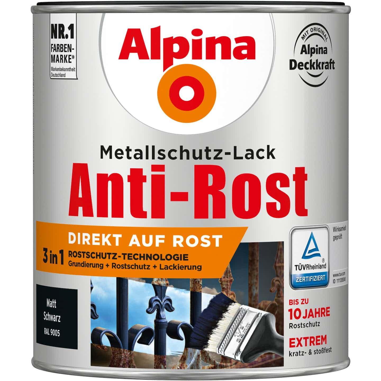 Alpina Metallschutz-Lack Anti-Rost Schwarz matt 750 ml