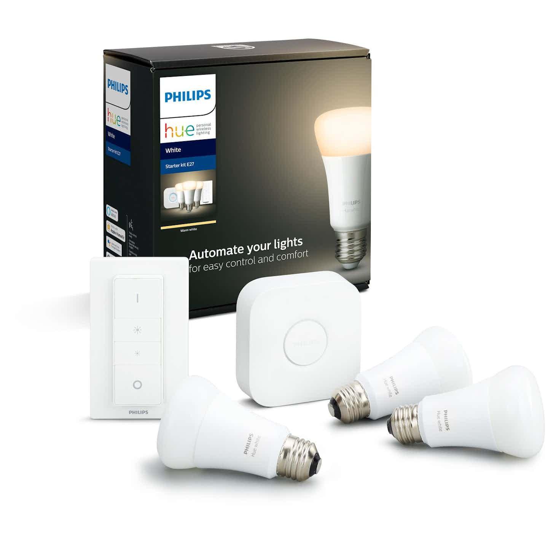 Philips Hue White LED-Lampe E27 3er Set 3 x 9,5 W inkl. Dimmschalter Bluetooth