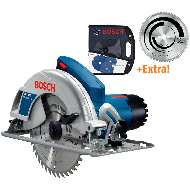 Bosch Professional Handkreissäge GKS 190 Set mit Tasche und 2. Sägeblatt