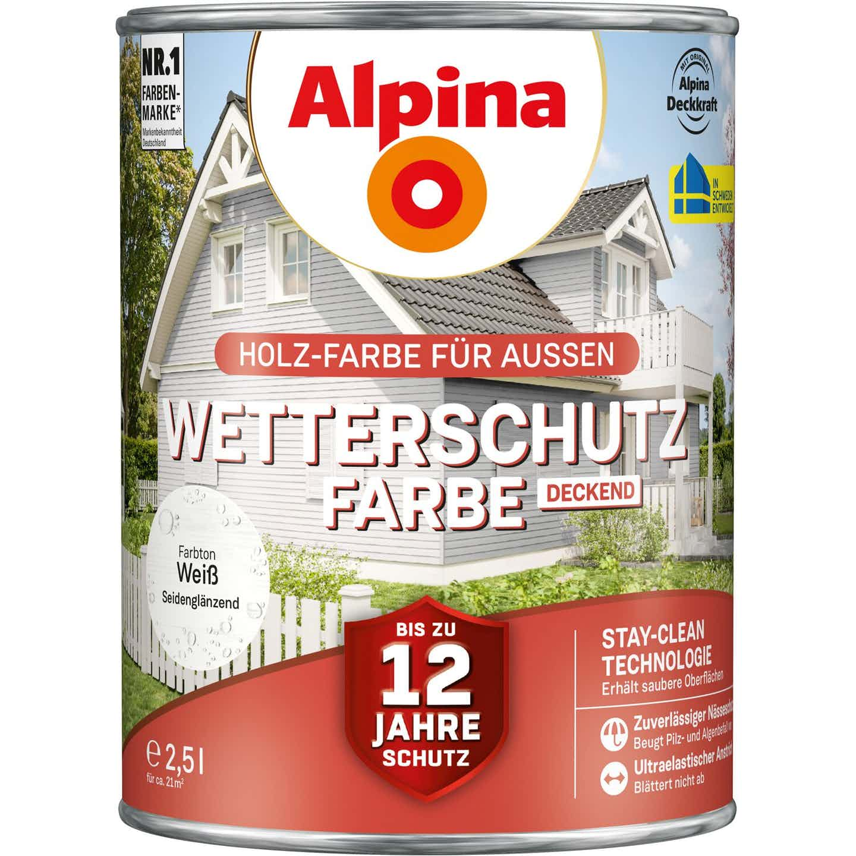 Alpina Wetterschutzfarbe Weiß 2,5 l