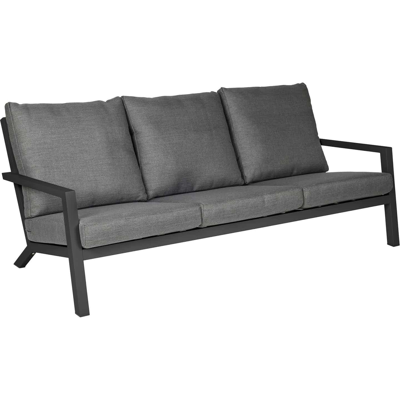 Siena Garden Lounge-Sofa 3-Sitzer Belia Anthrazit inkl. Kissen