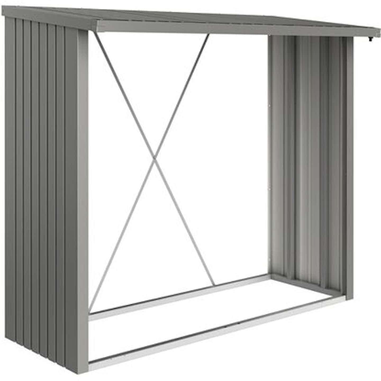 Biohort Kaminholzregal WoodStock Größe 230 229 cm x 102 cm Quarzgrau-Metallic