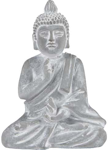 Deko-Figur Buddha Sitzend Minimalist Zen 15 cm Hellgrau