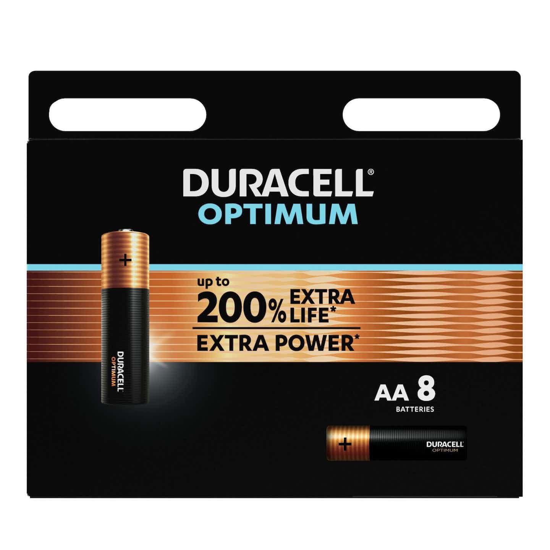 Duracell Optimum Batterien AA Mignon, 8 Stück