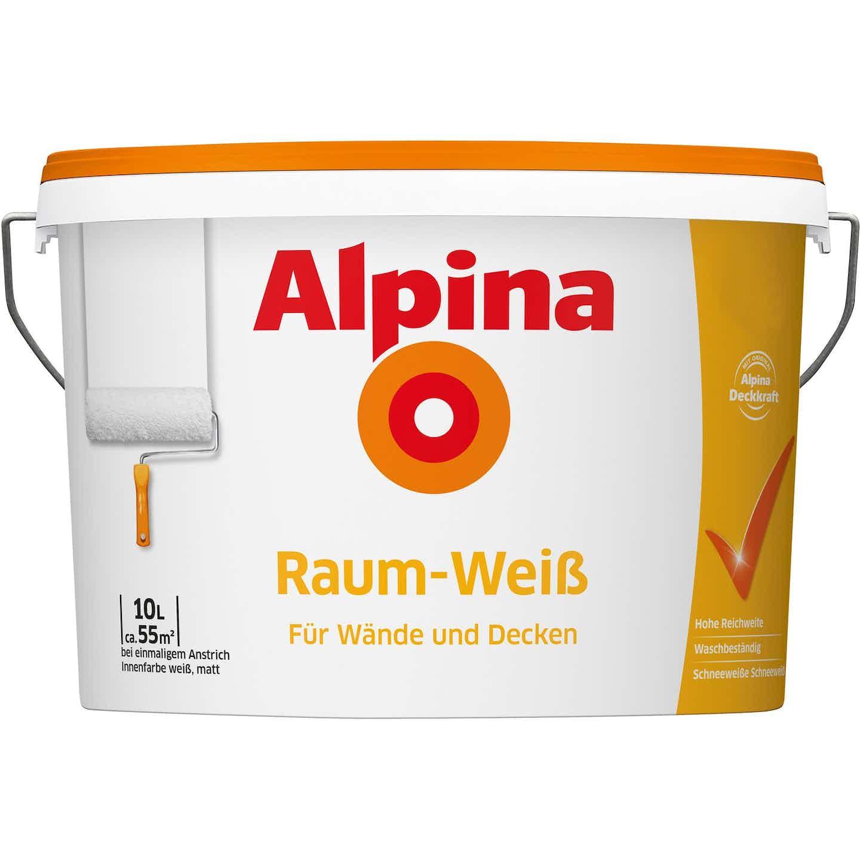 Alpina Wandfarbe Raum-Weiß Schneeweiß matt 10 l
