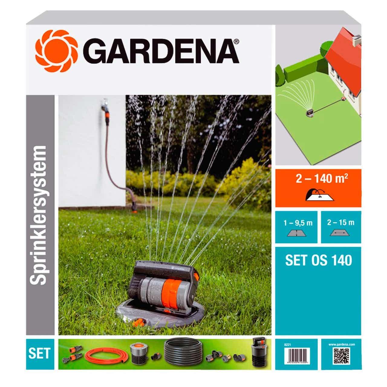 Gardena Komplett-Set mit Viereck-Versenkregner OS 140 für Flächen bis zu 140 m²