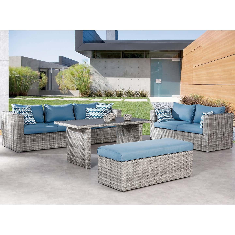 Best Freizeitmöbel Gartenmöbel-Set Curacao Polyrattan 4-tlg. Warm-Grey/Blau
