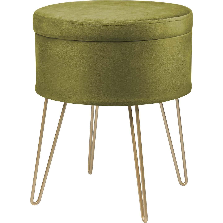 Sitzhocker Safari Lodge MDF 45 cm x Ø 36 cm Grün