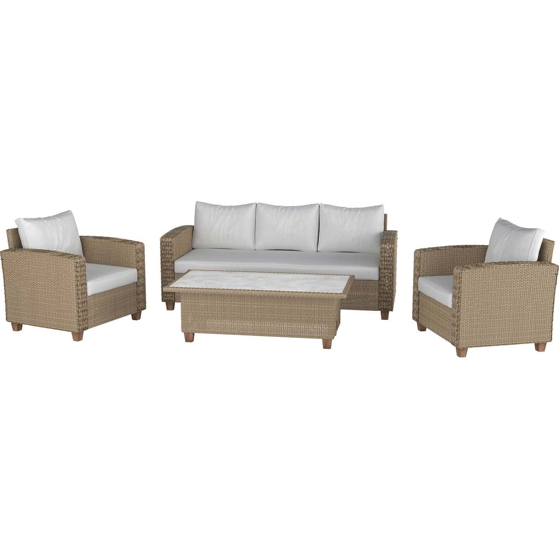 Lounge-Set mit Esstisch Jesmond 4-teilig aus Polyrattan Braun