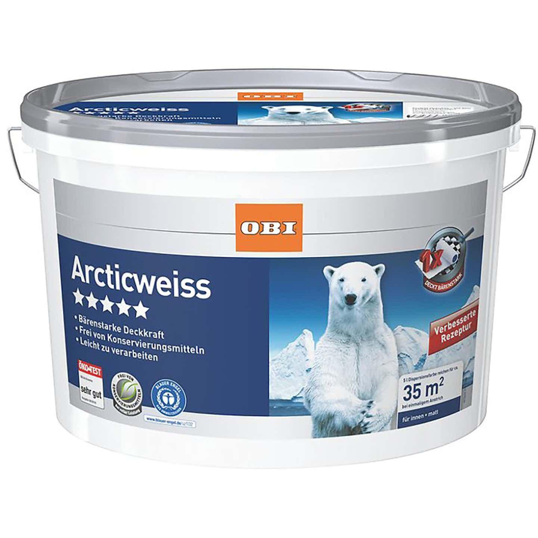 OBI Wandfarbe Arcticweiß matt 5 l