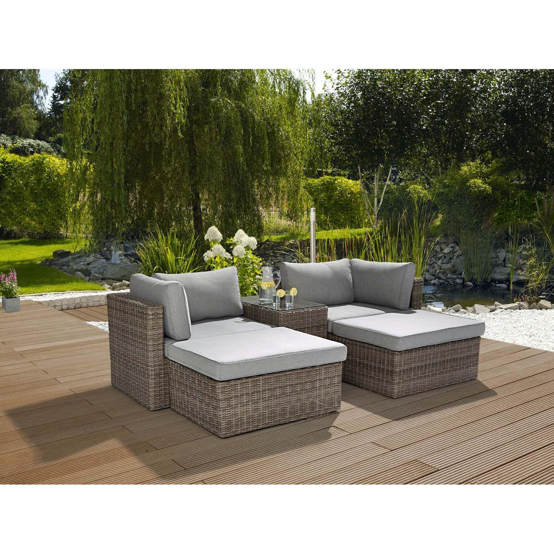 Greemotion Garten Lounge-Gruppe Olea Polyrattan Grau 5-teilig
