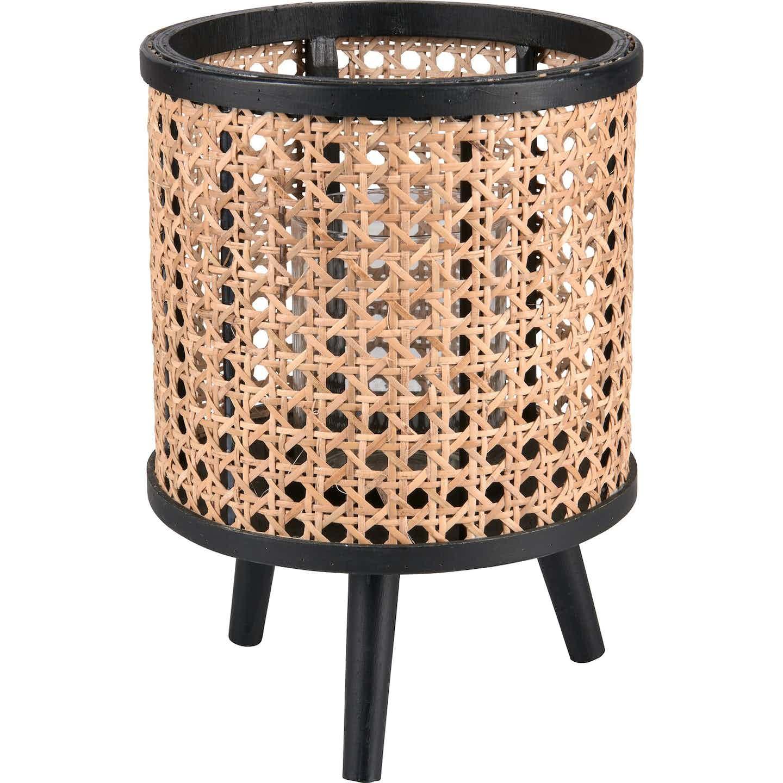 Teelichthalter Minimalist Zen Glas/Bambus 25 cm x Ø 17,5 cm Schwarz