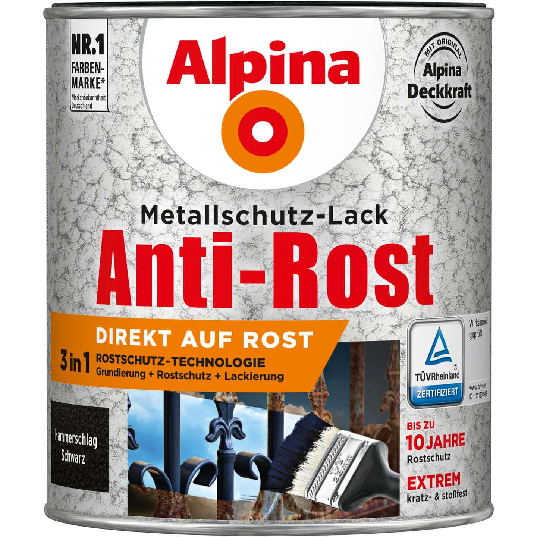 Alpina Metallschutz-Lack Anti-Rost Schwarz Hammerschlag 750 ml