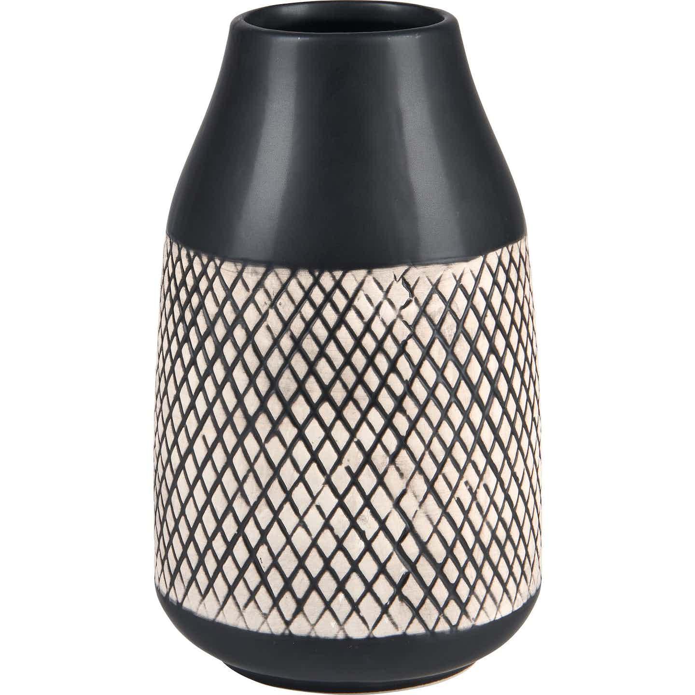 Vase Minimalist Zen Keramik 20,4 cm x Ø 12,3 cm Schwarz
