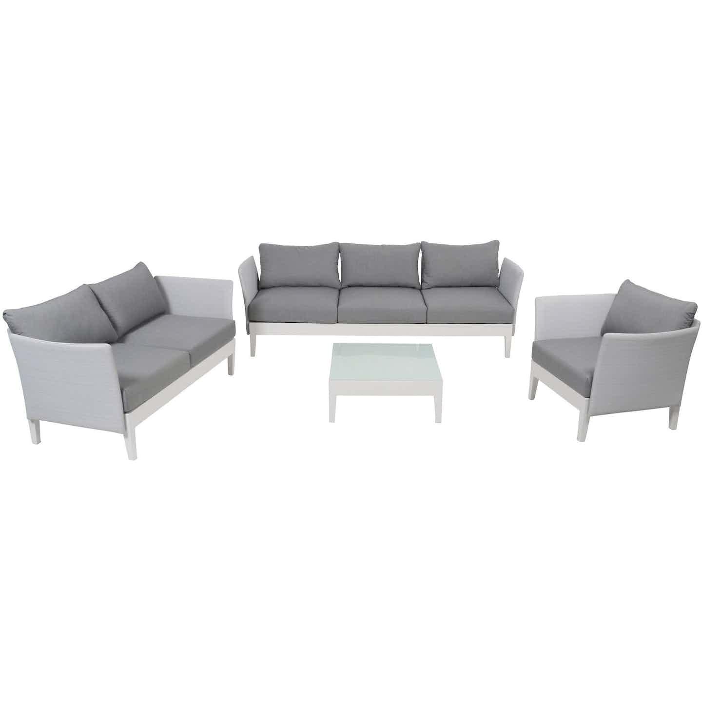 Greemotion Lounge-Gruppe Memphis 4-tlg. mit Tisch Weiß-Grau