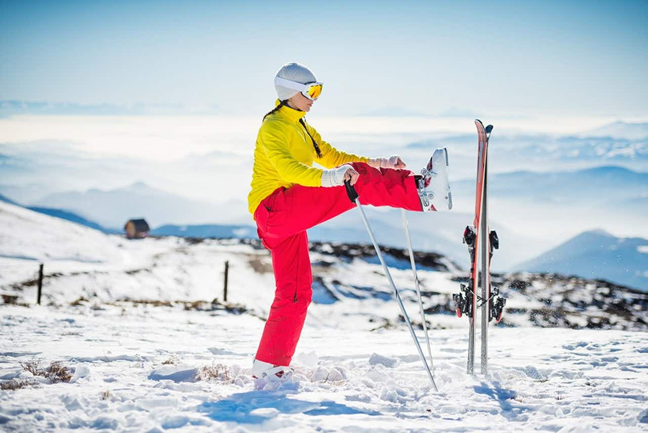 Aufwärmen vor dem Skifahren