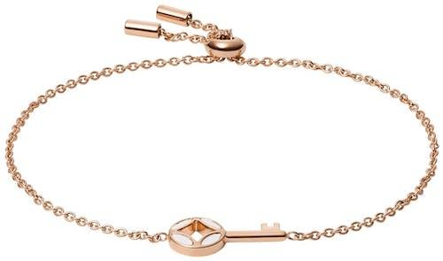 Ce Bracelet FOSSIL est en Acier Rose et Nacre Blanche