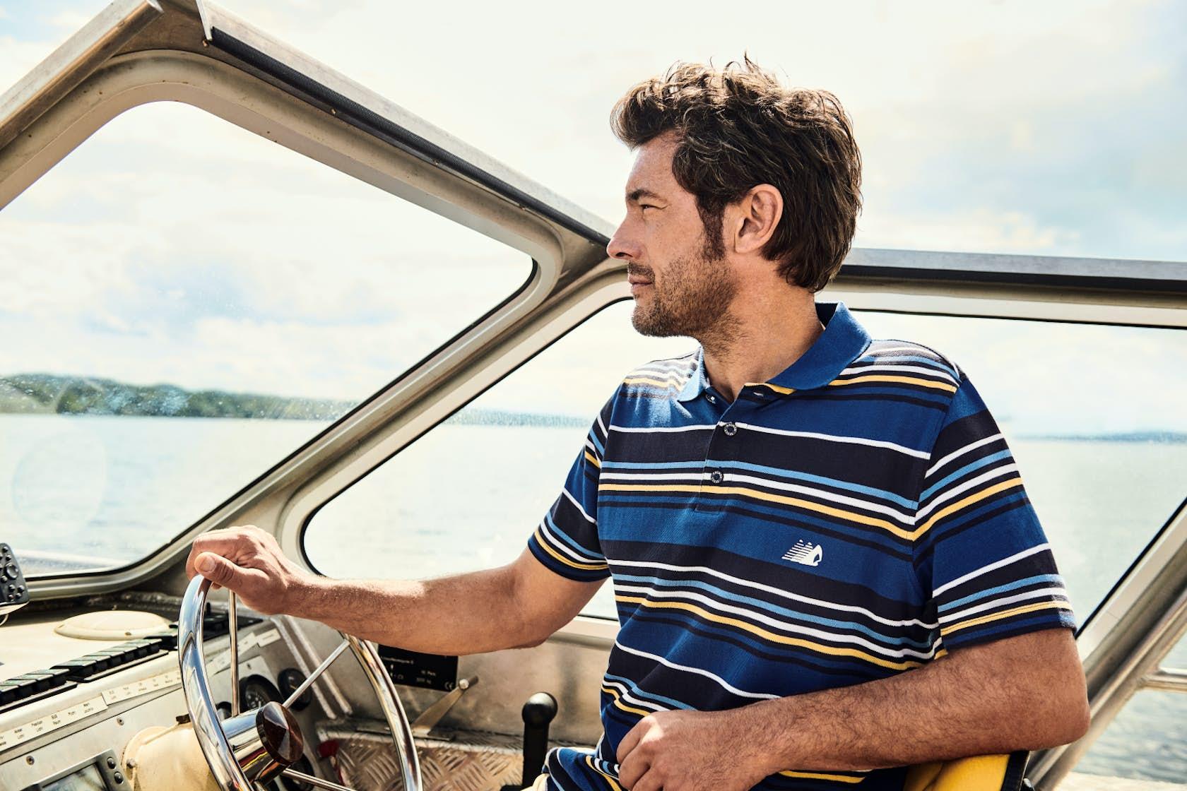 RAGMAN Man of Joy Herren Outfit, Poloshirt, Boot fahren