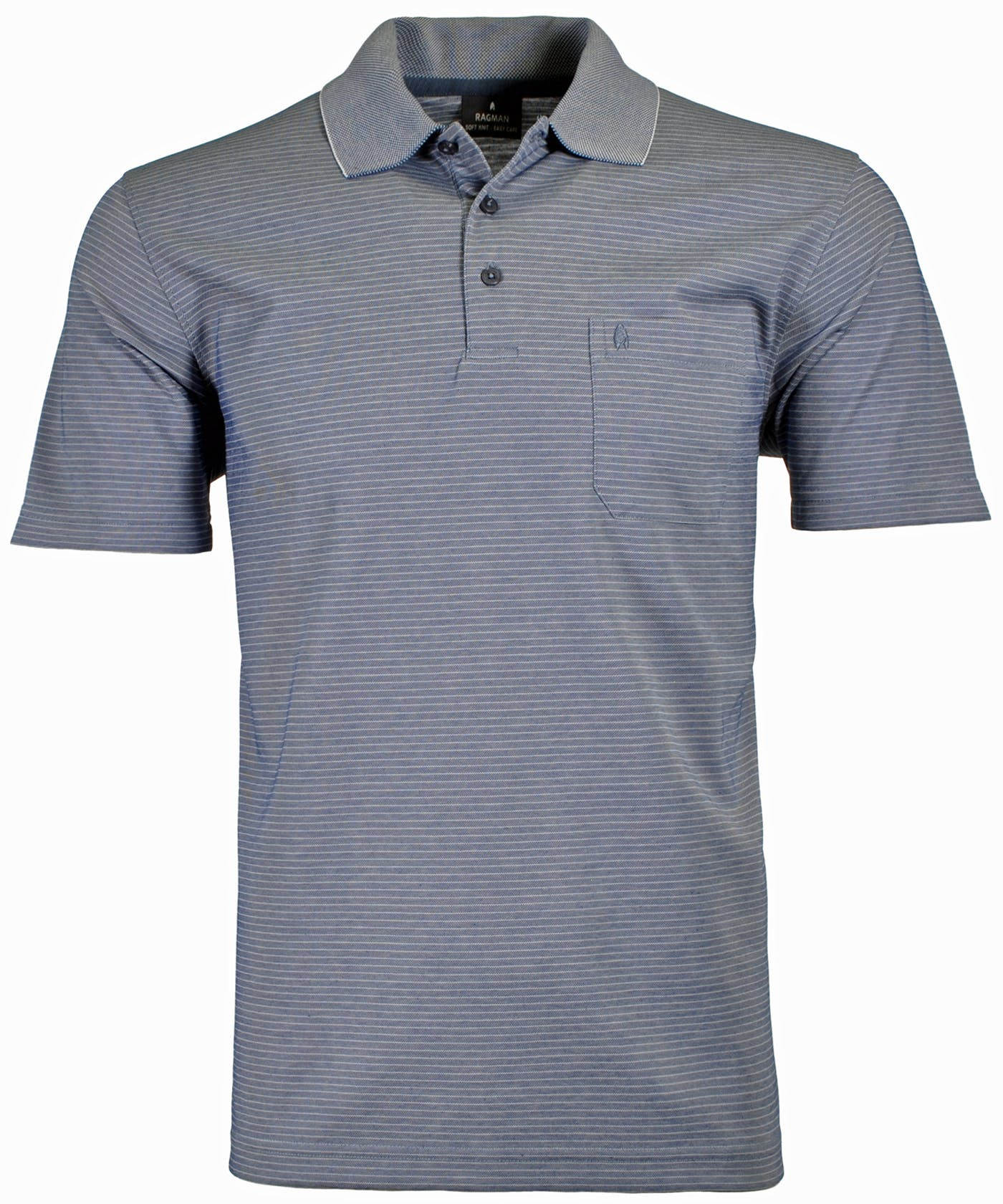 RAGMAN Softknit-Polo fein gestreift