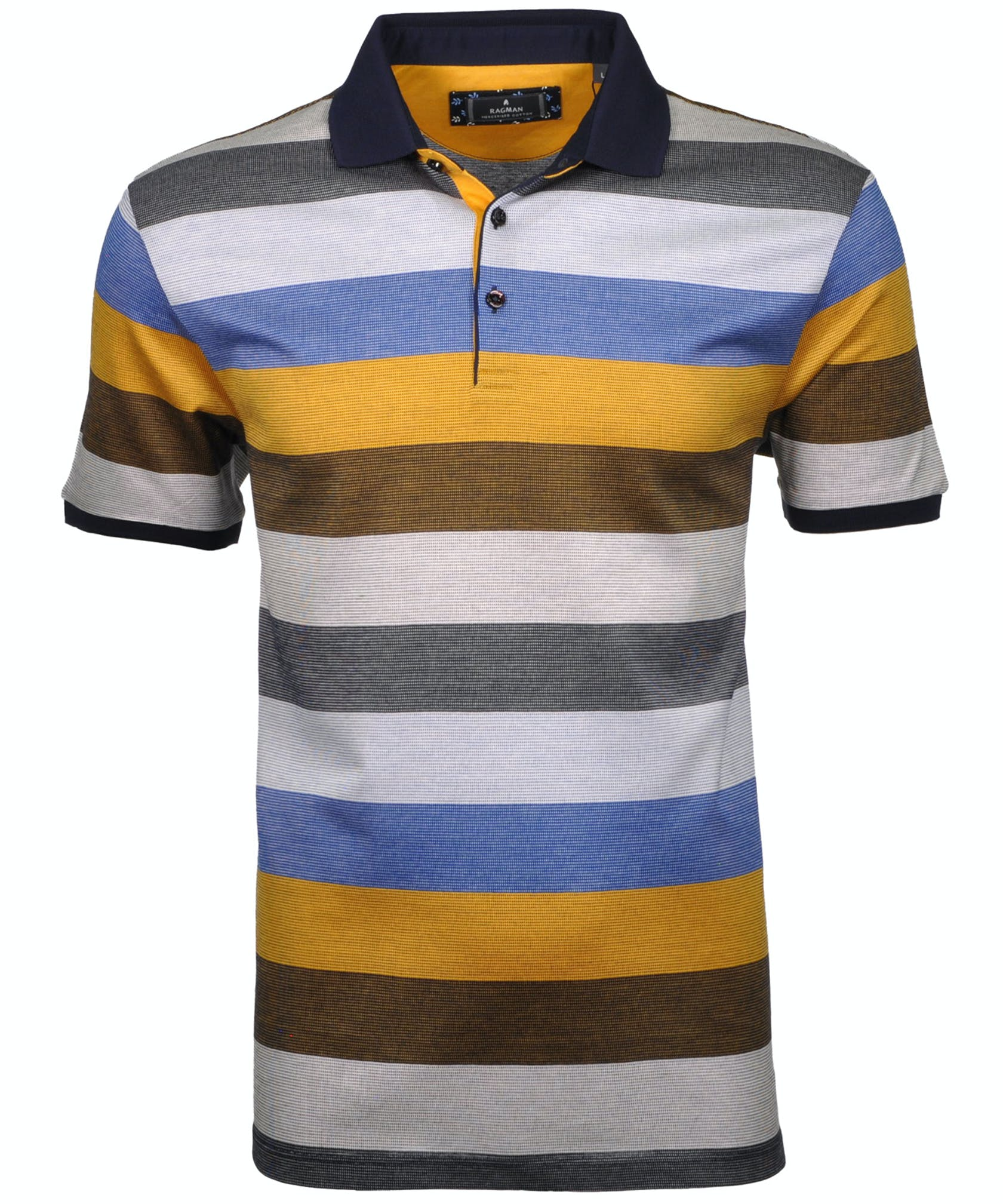 RAGMAN Polo gestreift, mercerisiert