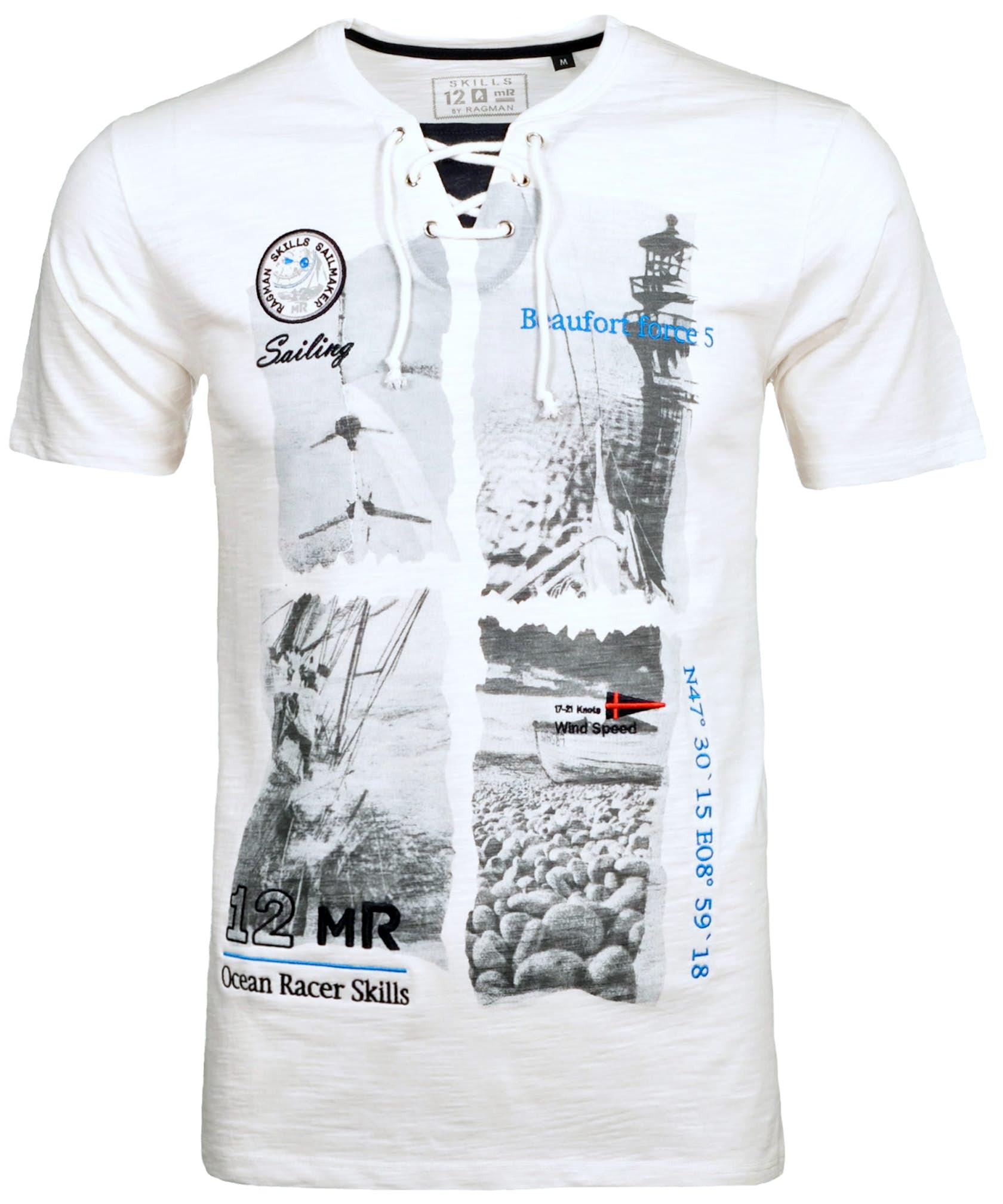 RAGMAN T-Shirt mit V-Neck und Print