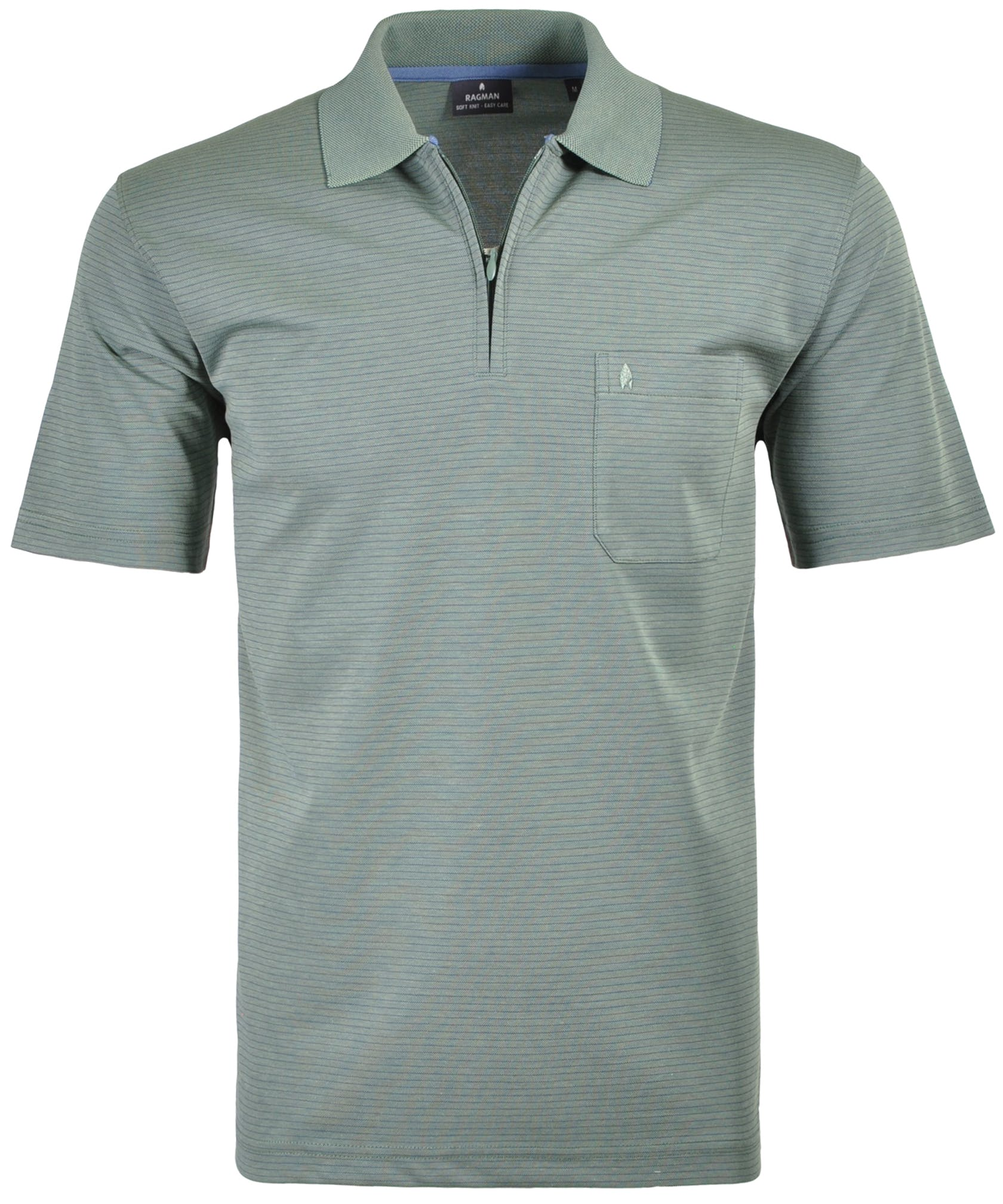 RAGMAN Softknit-Polo mit Zip, fein gestreift