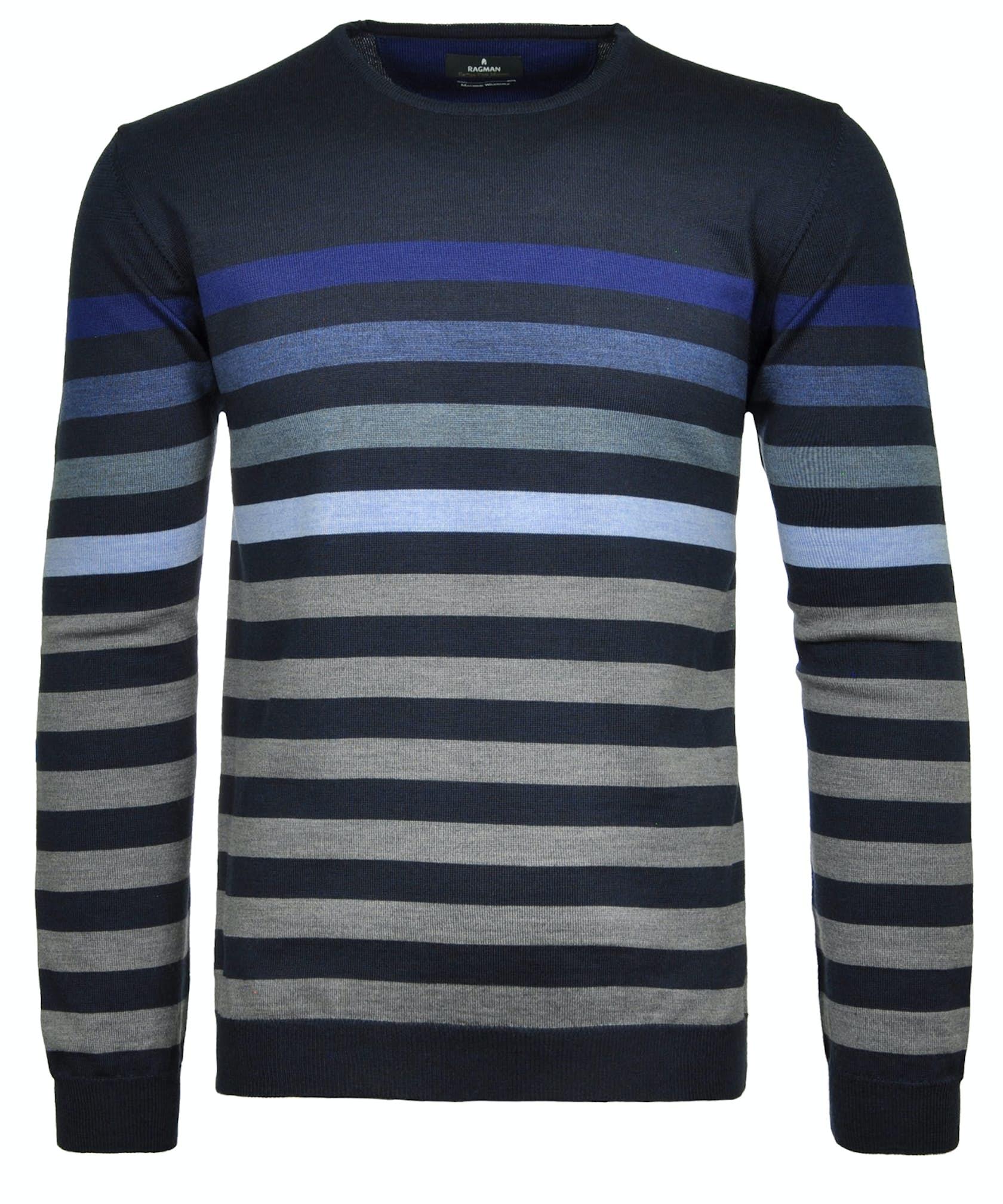 RAGMAN Rundhals-Pullover gestreift