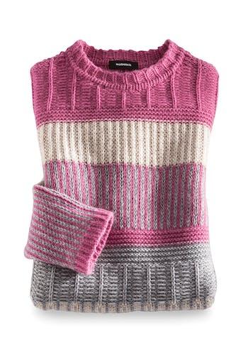 Gestrickter Pullover mit Streifen in Pink, Rosa, Weiß und Grau.