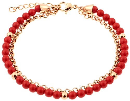 Ce Bracelet MISSISSIPI est en Acier Rose et Corail Rouge