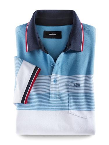 Hellblaues Polo mit weißen Streifen und roten Details.