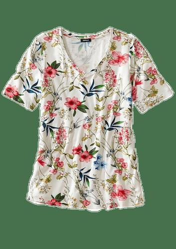 Weißes T-Shirt mit Blumendessin.