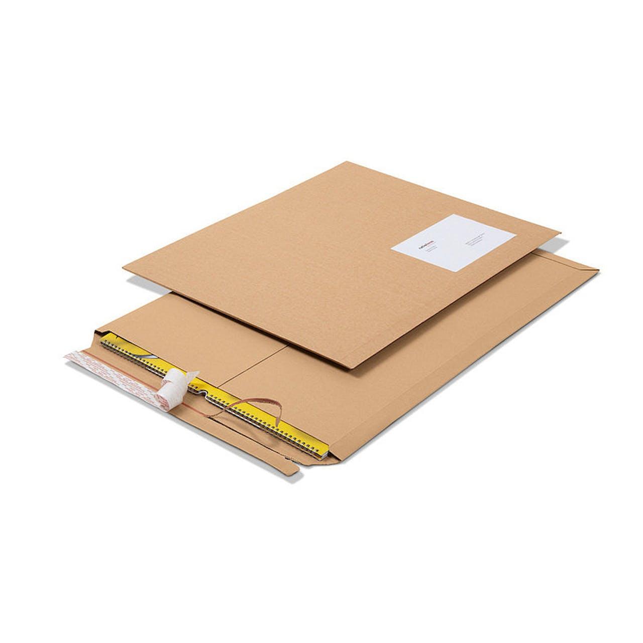 Flachformat-Verpackung bis DIN A2+, Wellpappe, 530 x 640 mm, mit Selbstklebung