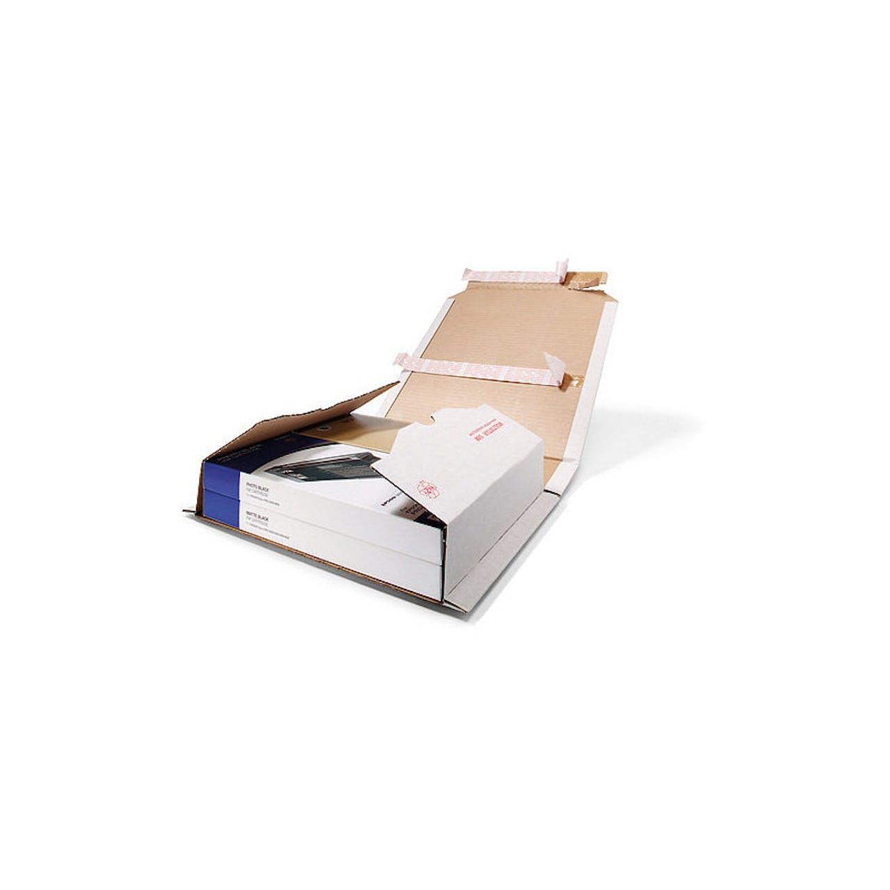 Buchverpackung, weiß, 320 x 455 mm, DIN A3, Füllh. 0–54 mm, 2-fache Selbstkleb.