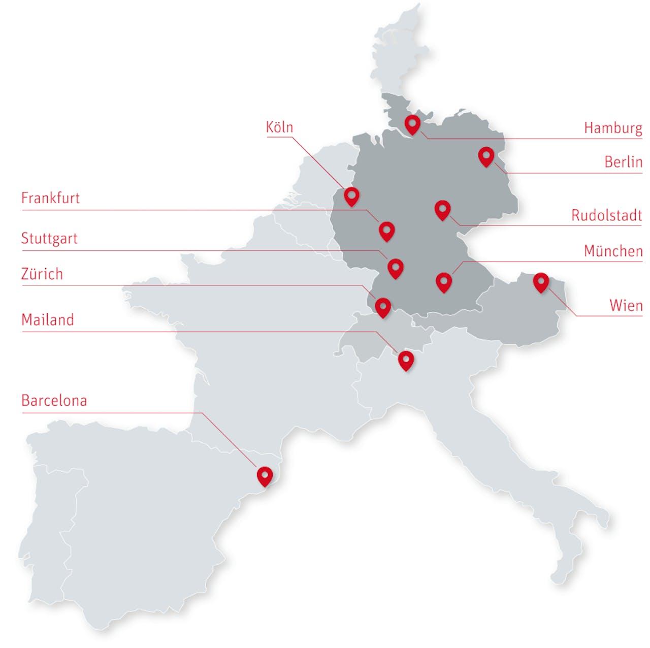 ratioform Standorte Europkarte