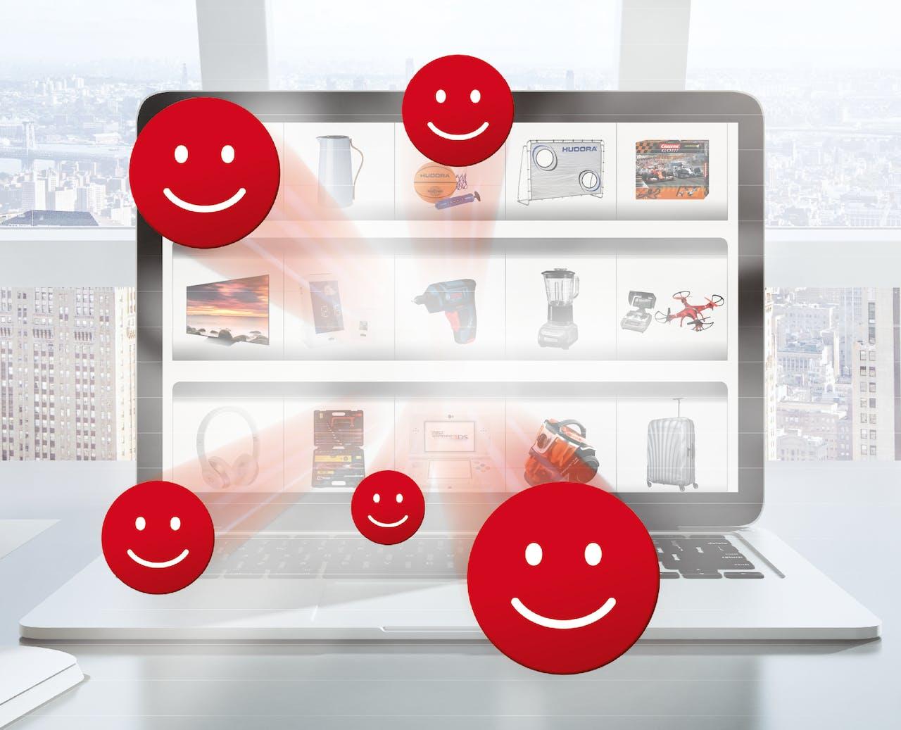 Laptop mit Prämienübersicht und Icon