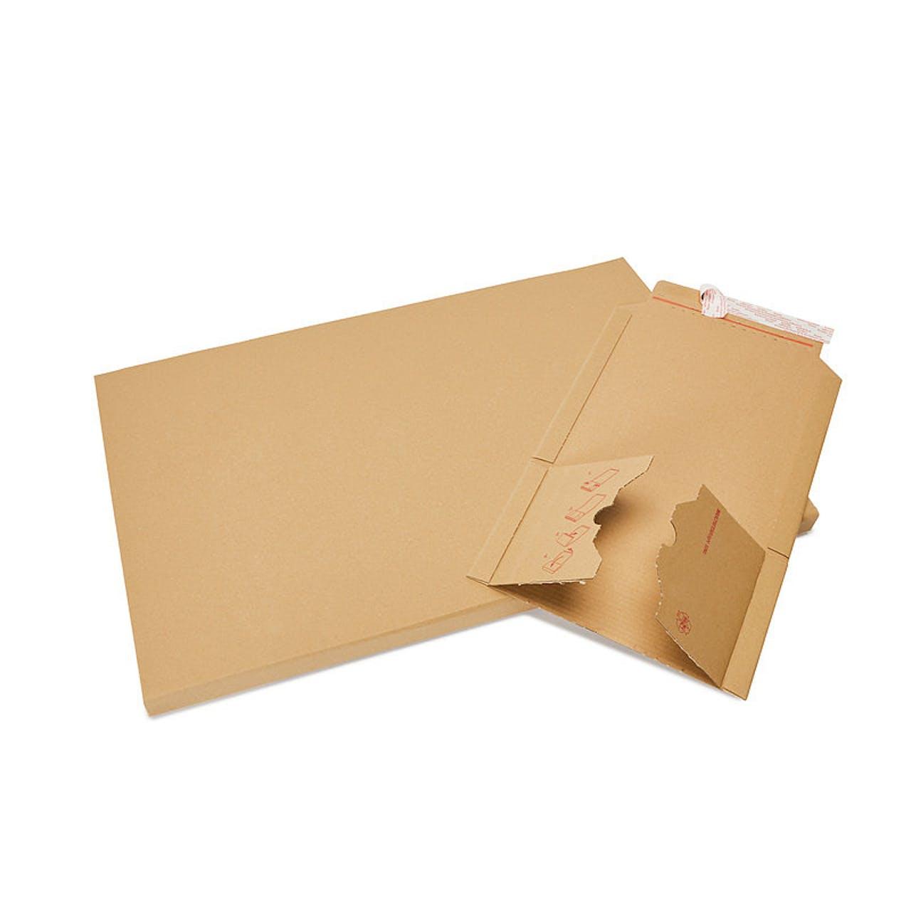 Buchverpackung, braun, 420 x 620 mm, A2 , Füllh. 1–55 mm, 1-fache Selbstkl.