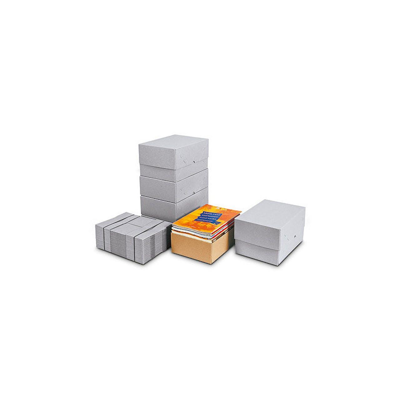 Stülpdeckel-Aufrichtekarton, 305 x 215 x 50 mm, grau, 600 g/m² Papiergewicht