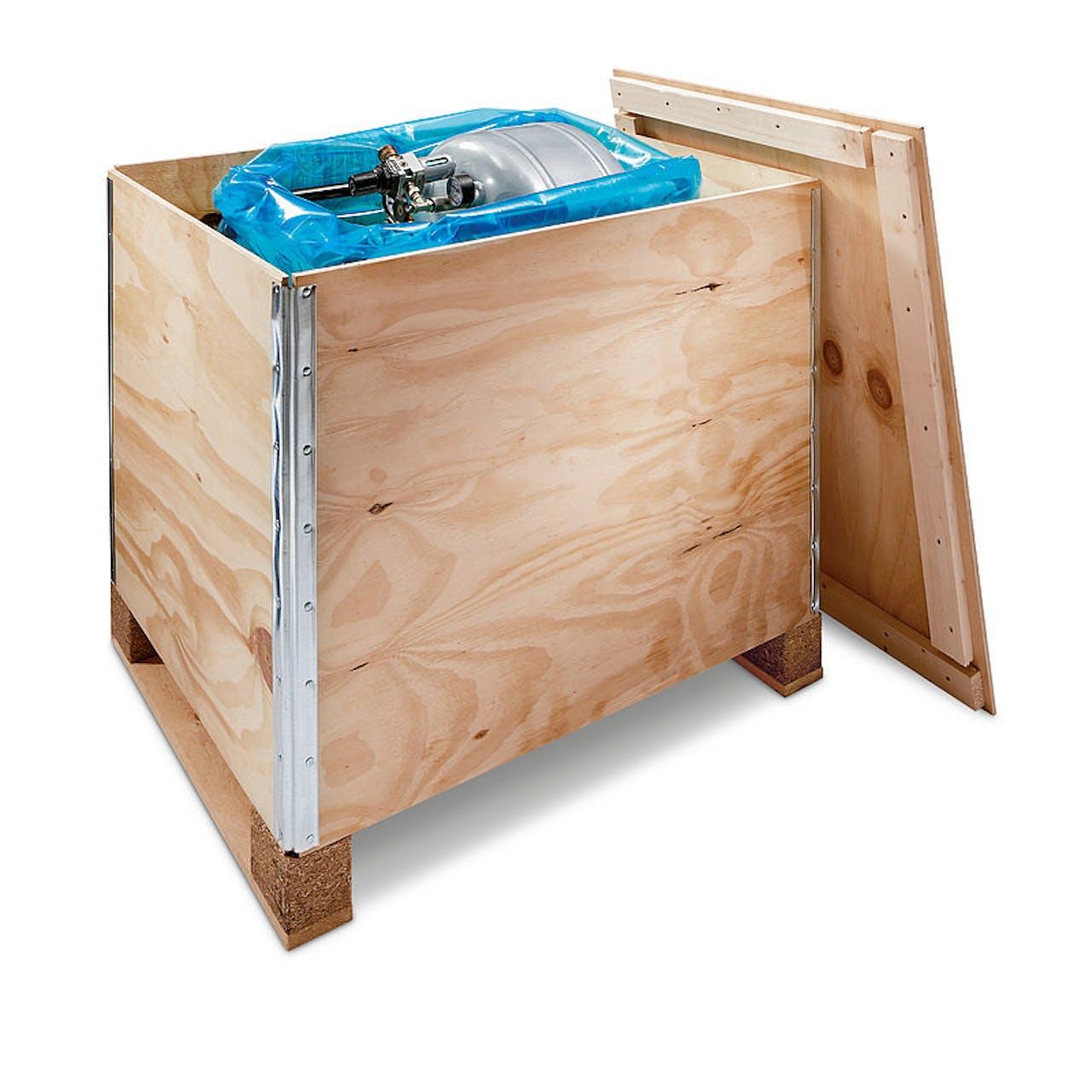 Holzfaltkiste Premium, innen 1180 x 980 x 770 mm, für Industriemaß, Wände 9 mm