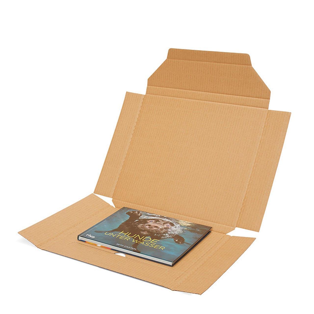 Flachformat-Verpackung, weiß, 303 x 217 x 10 mm, DIN A4, mit Verschlusslasche