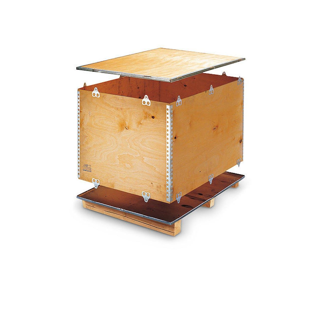 Holzfaltkiste mit Kufen, 1180 x 980 x 980 mm, Industrie-Maß, Eigengewicht 46 kg