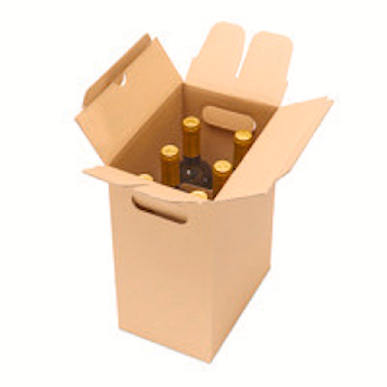 Weinflaschenkarton 6er mit Automatikgefache