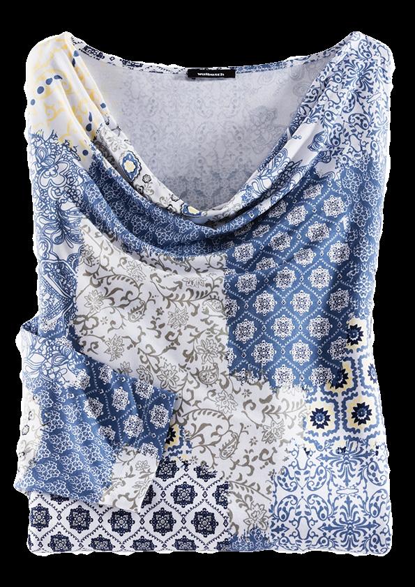 Blau-weiß gemustertes Shirt mit leichtem Wasserfallkragen.