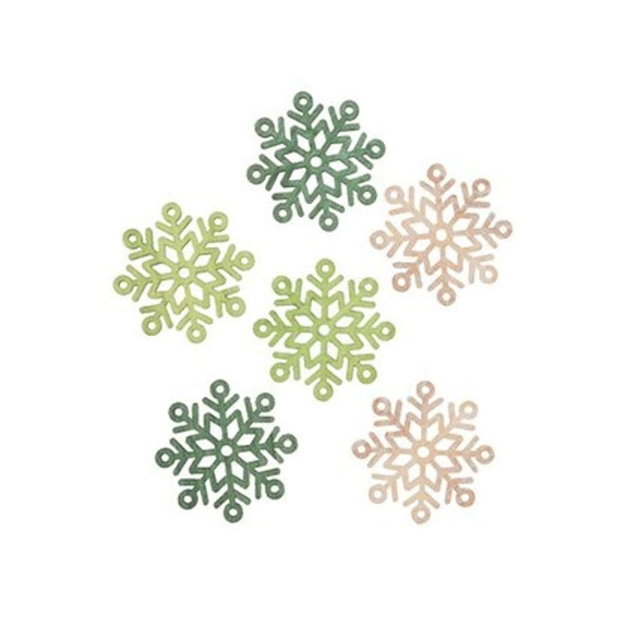 Vločky dřevěné 6 ks, 6 cm, hnědo-zelené