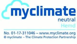 Label von myclimate für klimaneutrales hemd