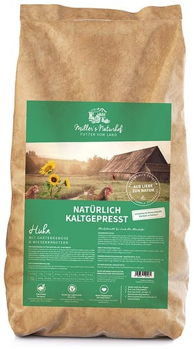 Müller's Naturhof - Trockenfutter - Natürlich Kaltgepresst Huhn mit Gartengemüse und Wiesenkräutern