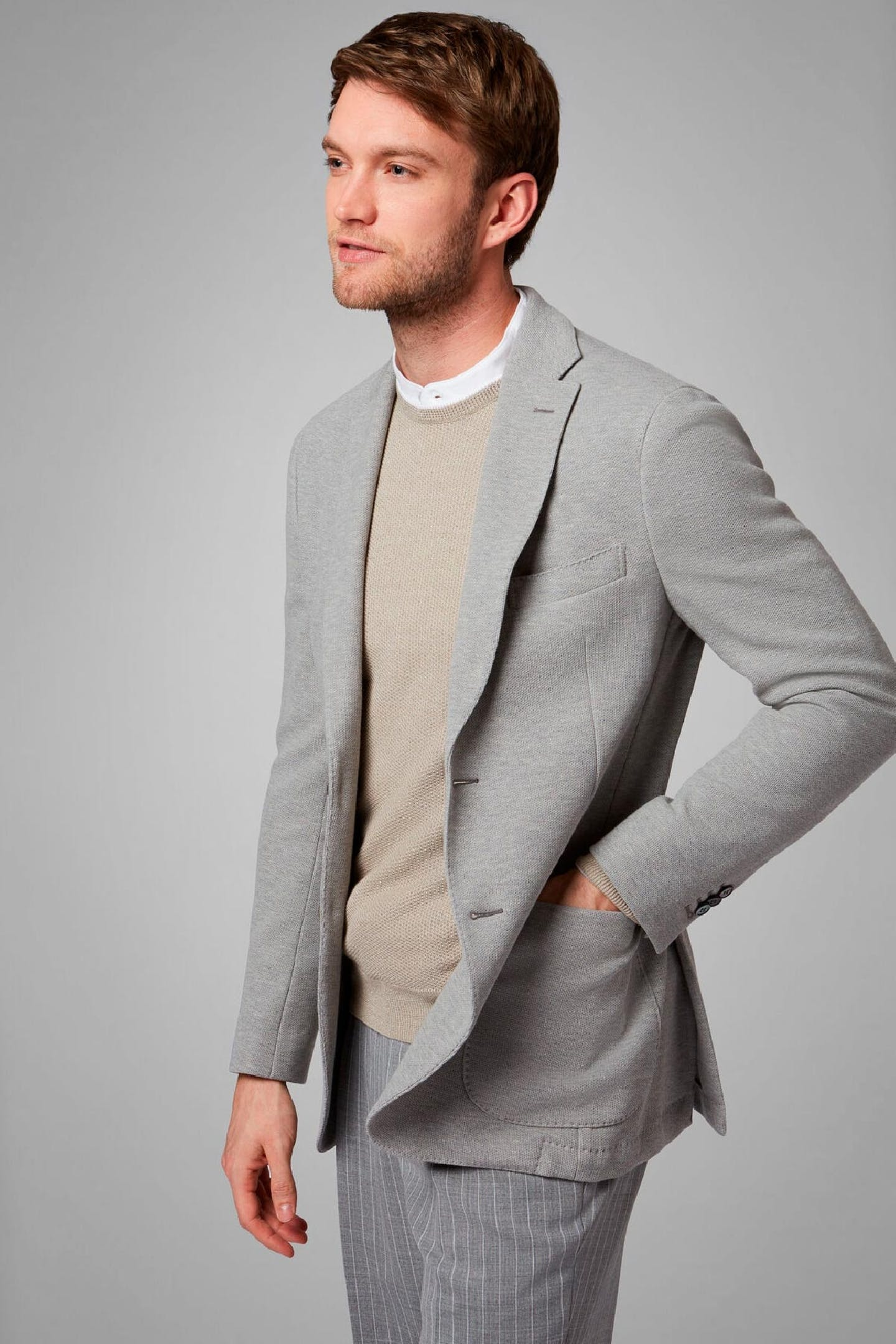 Boggi Milano B-Jersey Bari blazer in grey cotton crepe jersey  BO20P043402