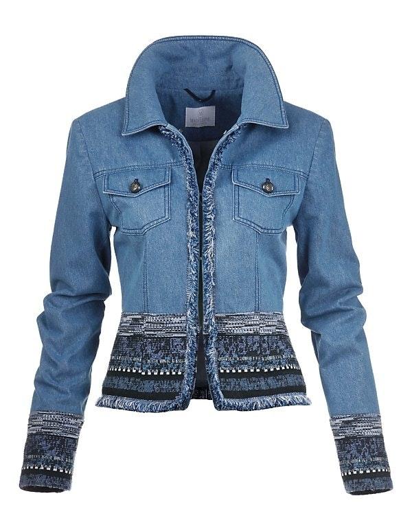 Jeansjacke mit Fancy-Tweed und Fransenkanten