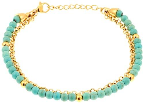 Ce Bracelet MISSISSIPI est en Acier Jaune et Turquoise Bleu