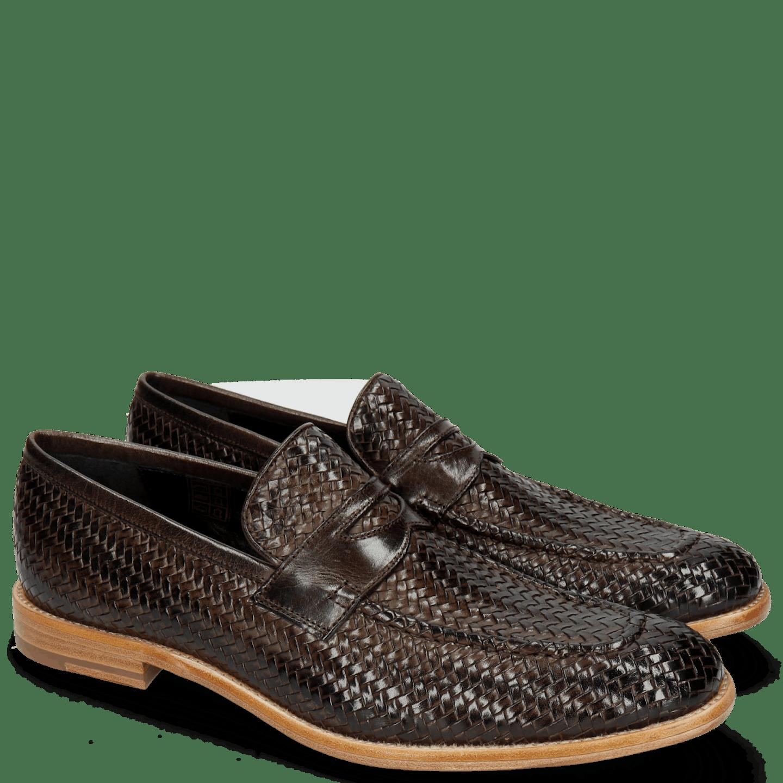 Eddy 44 Haring Bone Weave Dark Brown Lining Nappa