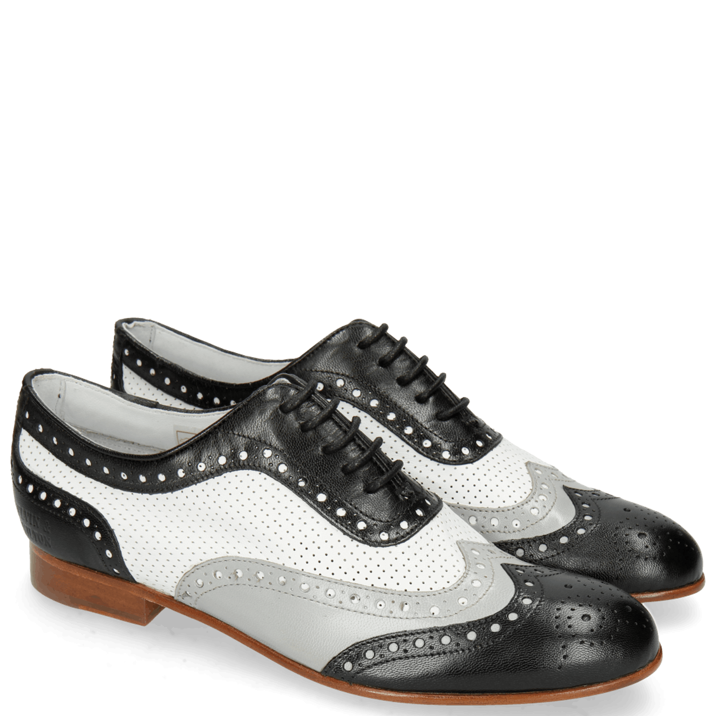 Sally 97 Salerno Black French Grey Nappa Perfo White